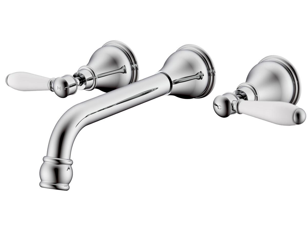Milli Voir Wall Bath Set Lever Handle 220mm with Porcelain Handles Chrome