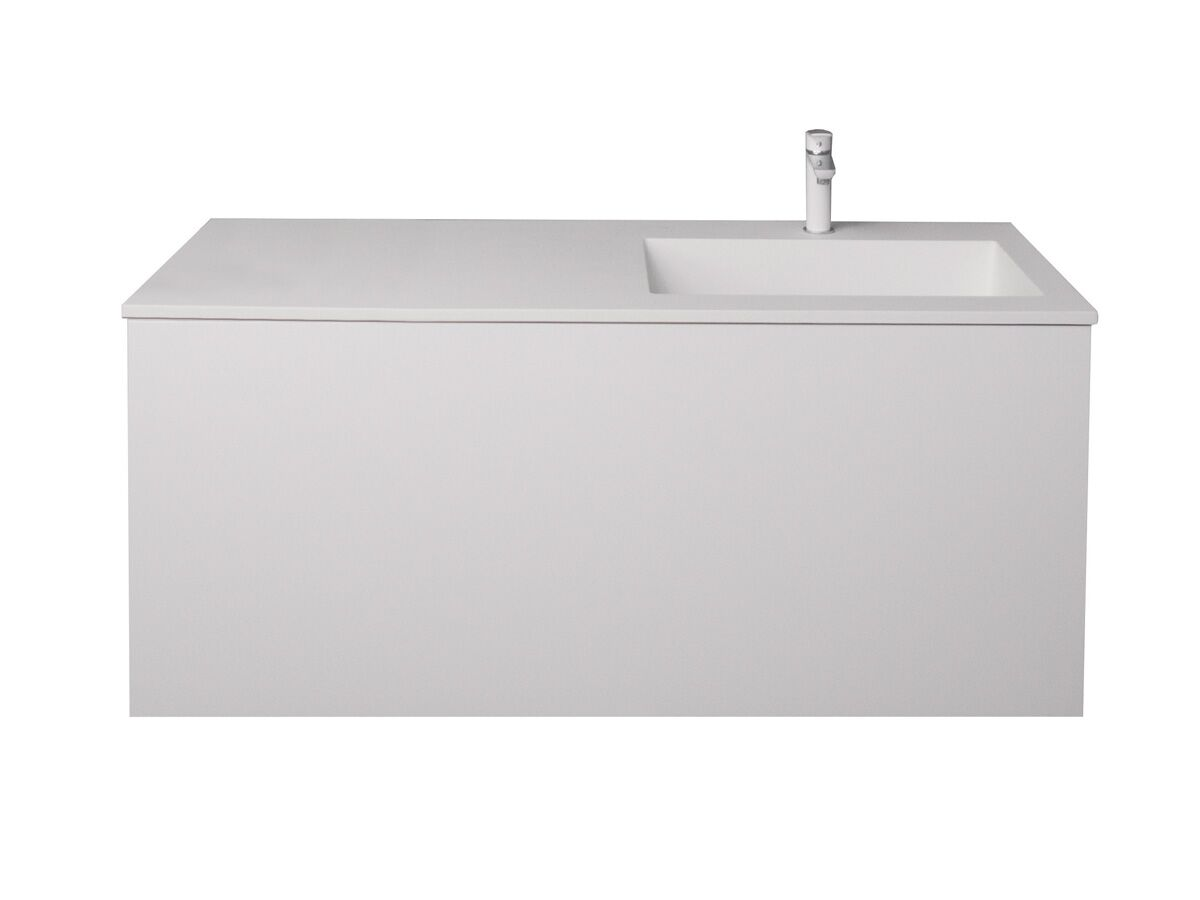 Kado Aspect Vanity Unit White With Handle 1 Drawer 1200 Right Hand Basin