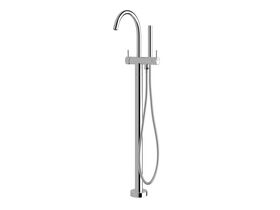 Sussex Scala Floor Mounted Bath Mixer Curved Outlet with Hand Shower Trimset Chrome (3 star)