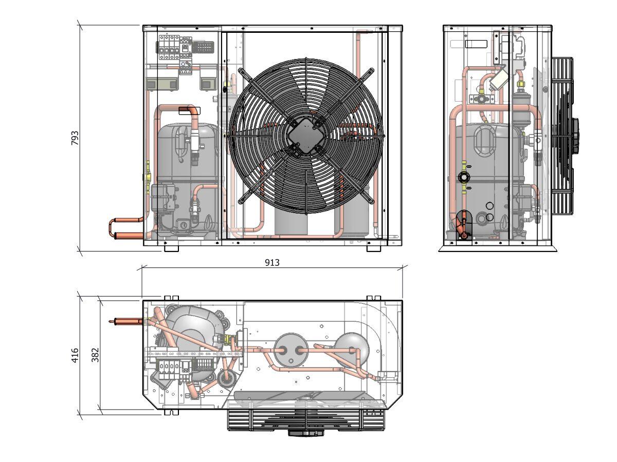 Tecumseh Compac Condensing Unit R404A PAC4546Z 3 Phase
