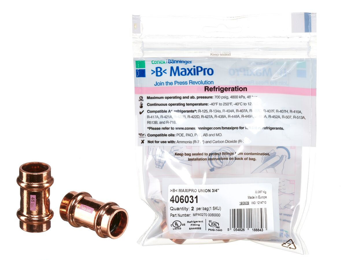 ">B< Maxipro Union 3/4"" Bag of 2"""