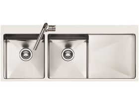 AFA Exact Double Bowl Inset Sink 1 Taphole Left Hand Bowl 1208mm Stainless Steel