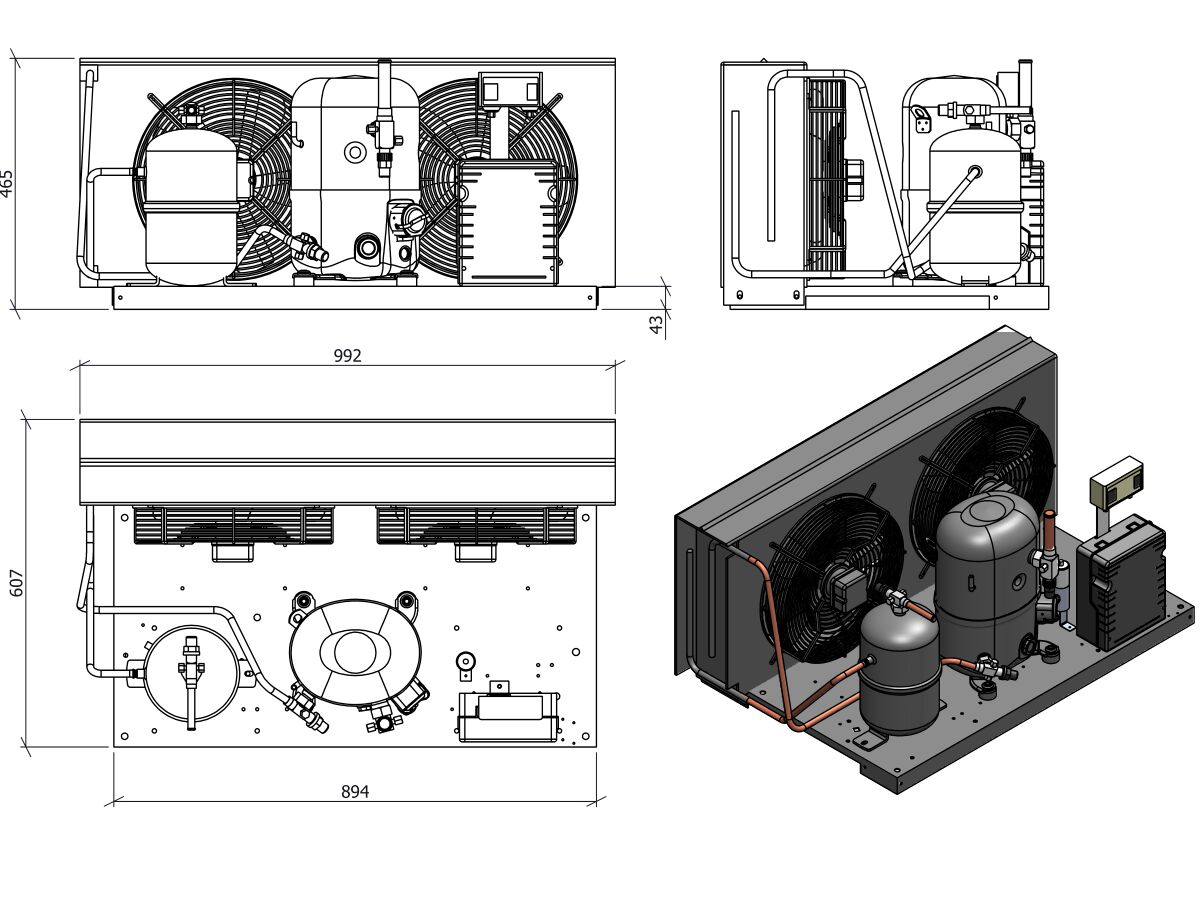 Tecumseh Condensing Unit 2.5HP R404A MHBP FHT4531ZHR