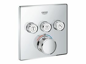 Grohe SmartControl Thermostat 3 Button Square Chrome