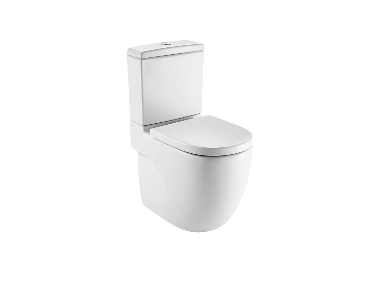 Meridian Rimless Close Coupled Back to Wall Back Inlet Toilet Suite Soft Close Quick Release Seat (4 Star)