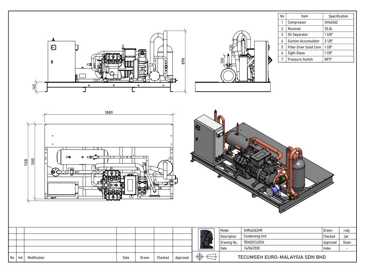 Tecumseh Semi Hermetic Receiver Unit SHR4636zhr