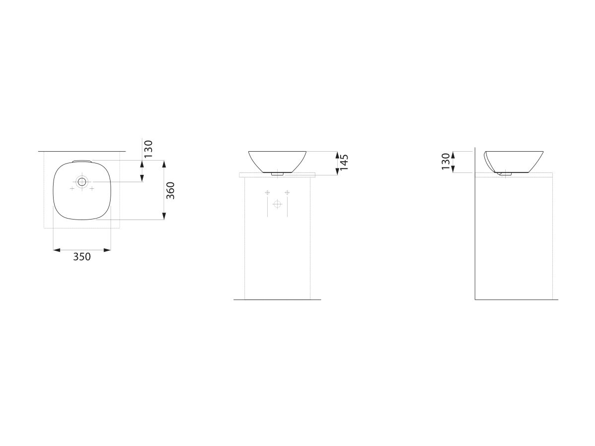 Laufen Ino Counter Basin with Overflow No Taphole 350mm White