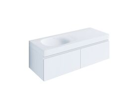 Kado Lussi 1200mm Wall Hung Vanity Unit with Two Soft Close Drawers Satin White Painted Finish