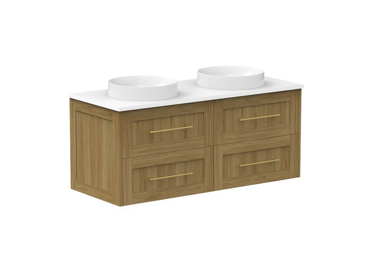 Kado Lux 1200mm All Drawer Wall Hung Vanity Unit 4 Drawers Double Bowl Vanity (No Basin)