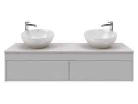 Acqua Wall Hung Vanity Unit Double 1500mm Freestyle Solid Surface 30mm Top