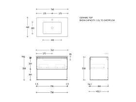 Posh Domaine Shelf All-Drawer 750 Wall Hung Ceramic