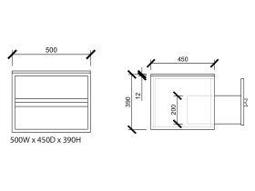 Issy Z8 Vanity Unit 2 Drawer 500