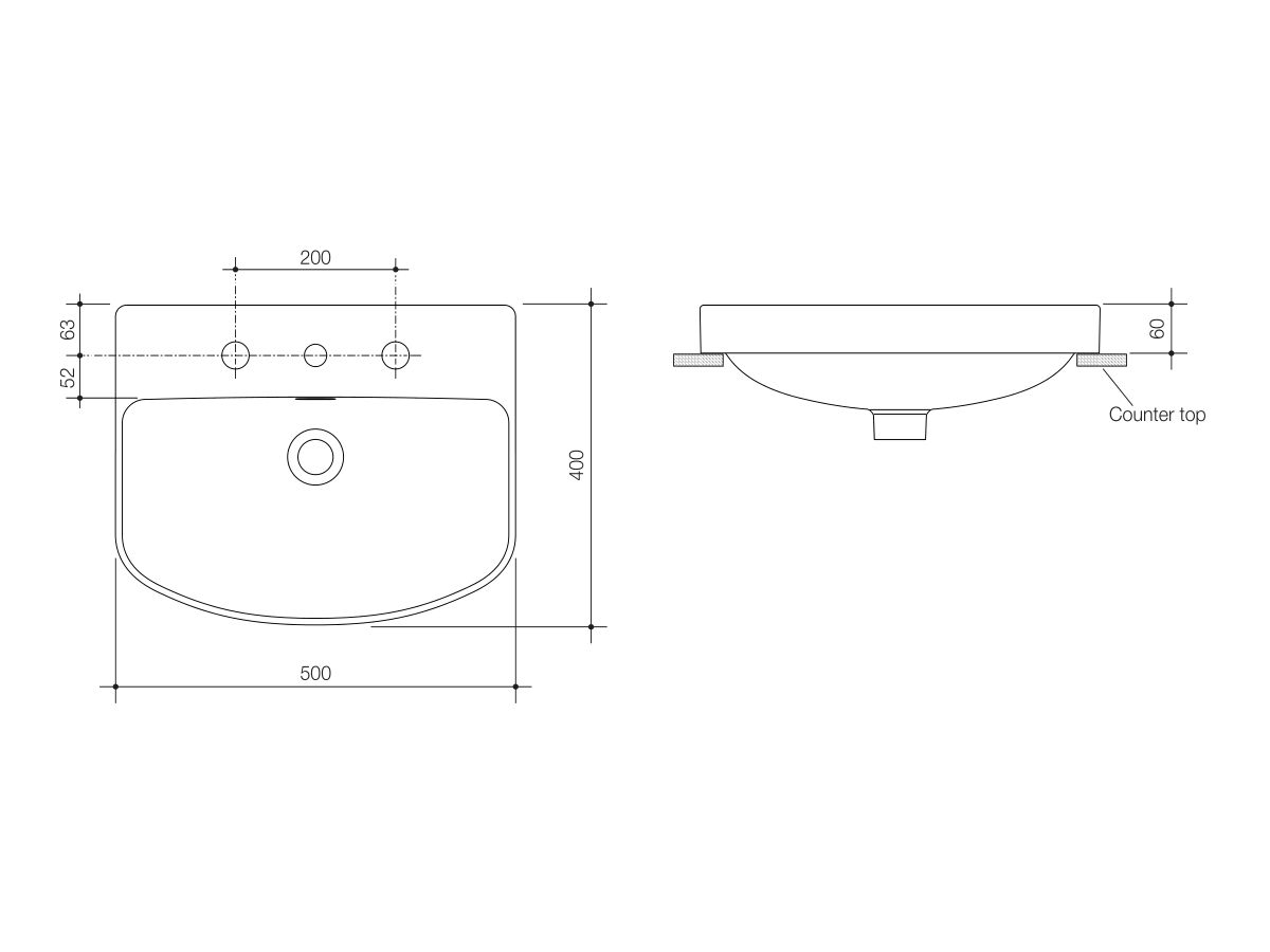 Caroma Forma Inset Vanity Basin 3 Taphole with Overflow