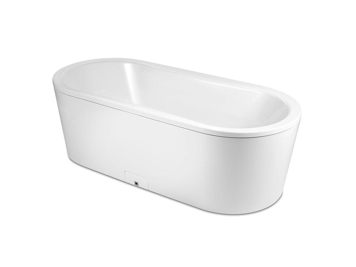 Roca Duo Plus Oval Freestanding Bath 1800mm Chrome Overflow, White