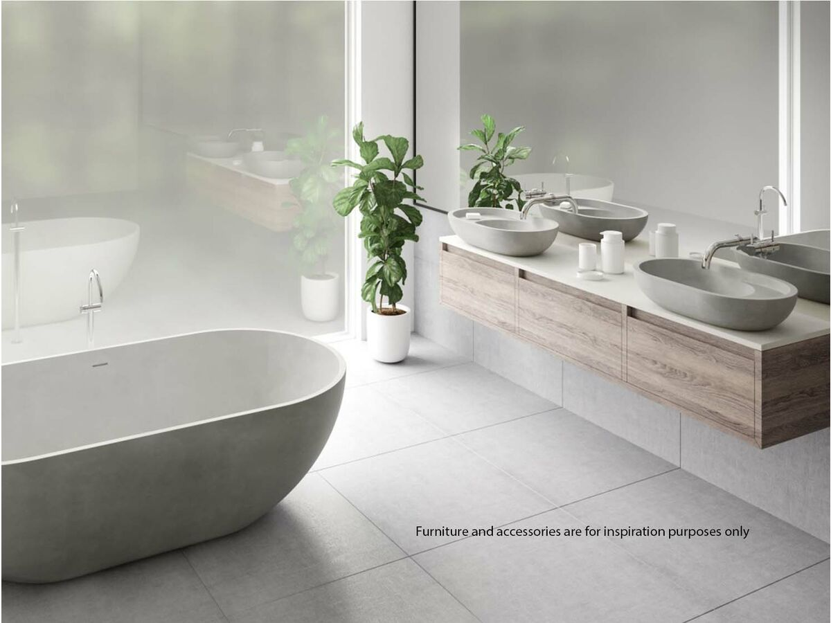 Omvivo Villa Freestanding Bath and Oval Basin with Shelf in White Haven