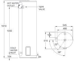 RheemPlus 160L 3.6kW Single Element Electric Hot Water System