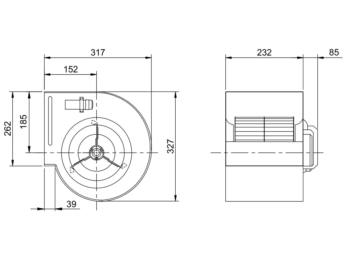 Technical Drawing - Kruger Centrifugal Fan KDD9/7T350W4P-1 3S