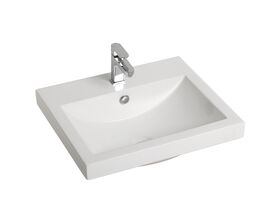 Posh Solus Semi Inset Basin 1 Taphole 540x450mm White