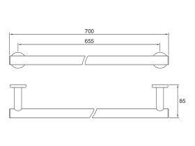 Mizu Drift Single Towel Rail 700mm Chrome